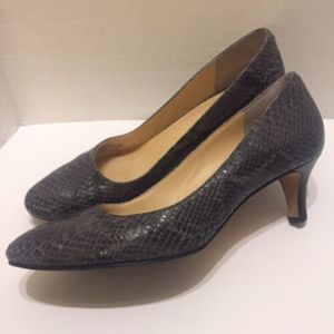 COLE HAAN Gray Reptile Snake Skin Leather Pumps 9B